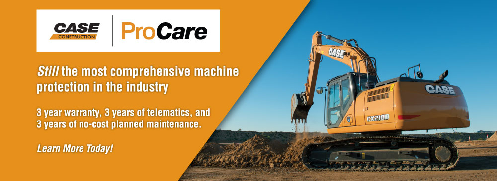 CASE equipment has the industry's best warranty – 3 years, 3,000 hours on excavators, dozers, and wheel loaders